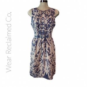 MEXX Chiffon Abstract Blue & Ivory Midi Dress
